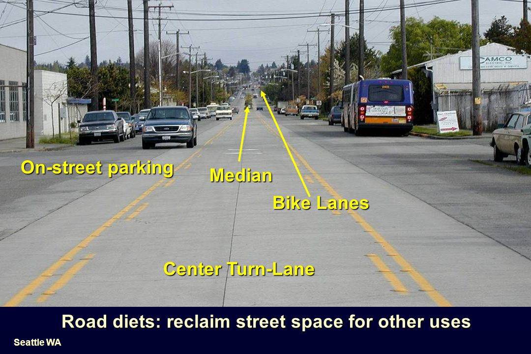 Road diets: reclaim street space for other uses
