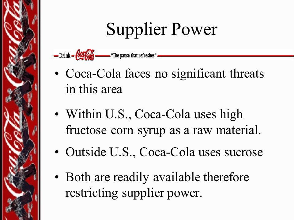 Supplier Power Coca-Cola faces no significant threats in this area