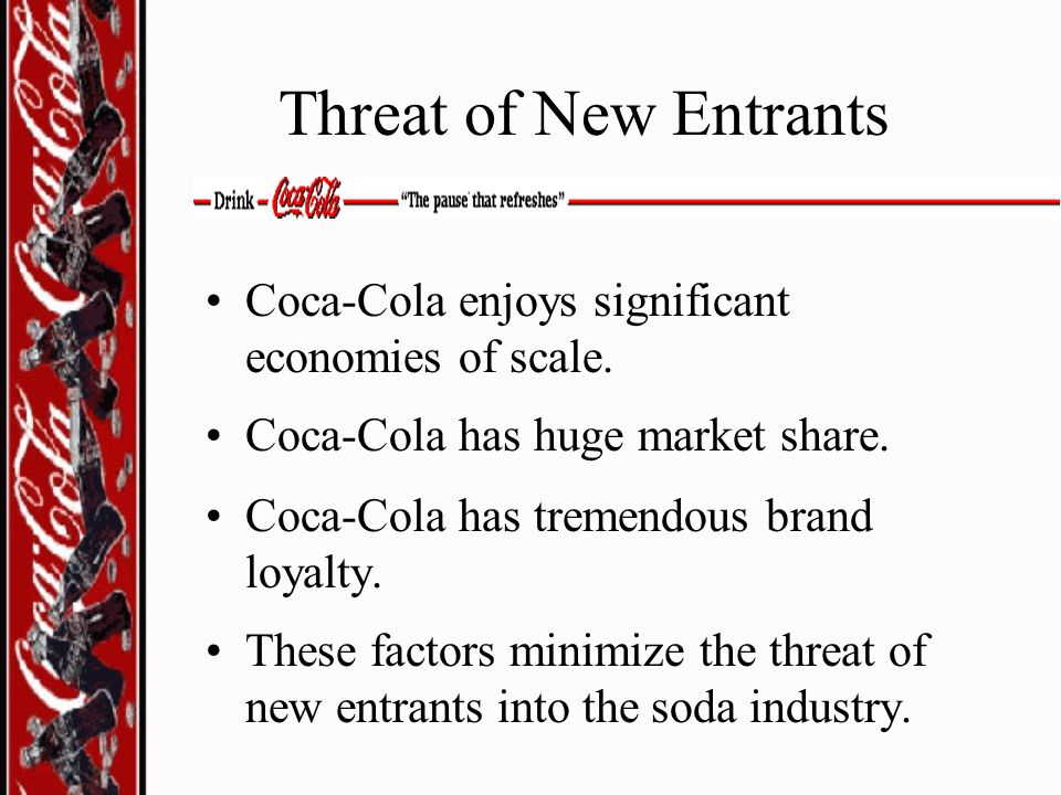 Threat of New Entrants Coca-Cola enjoys significant economies of scale. Coca-Cola has huge market share.