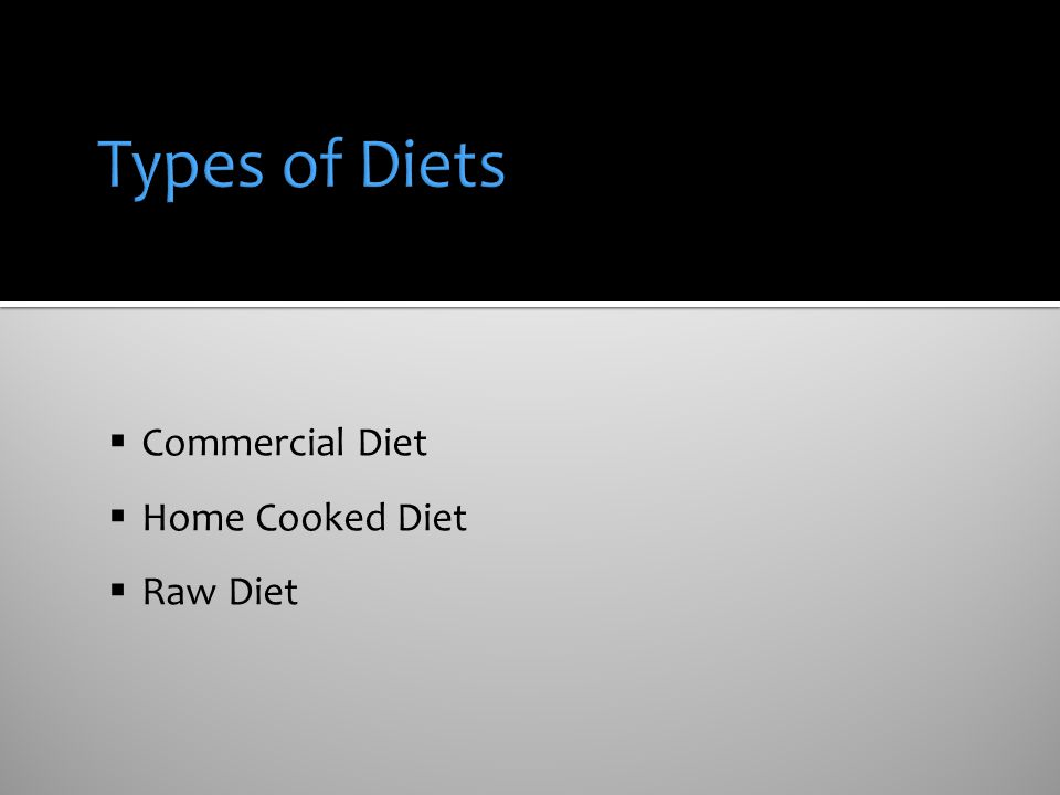 Types of Diets Commercial Diet Home Cooked Diet Raw Diet