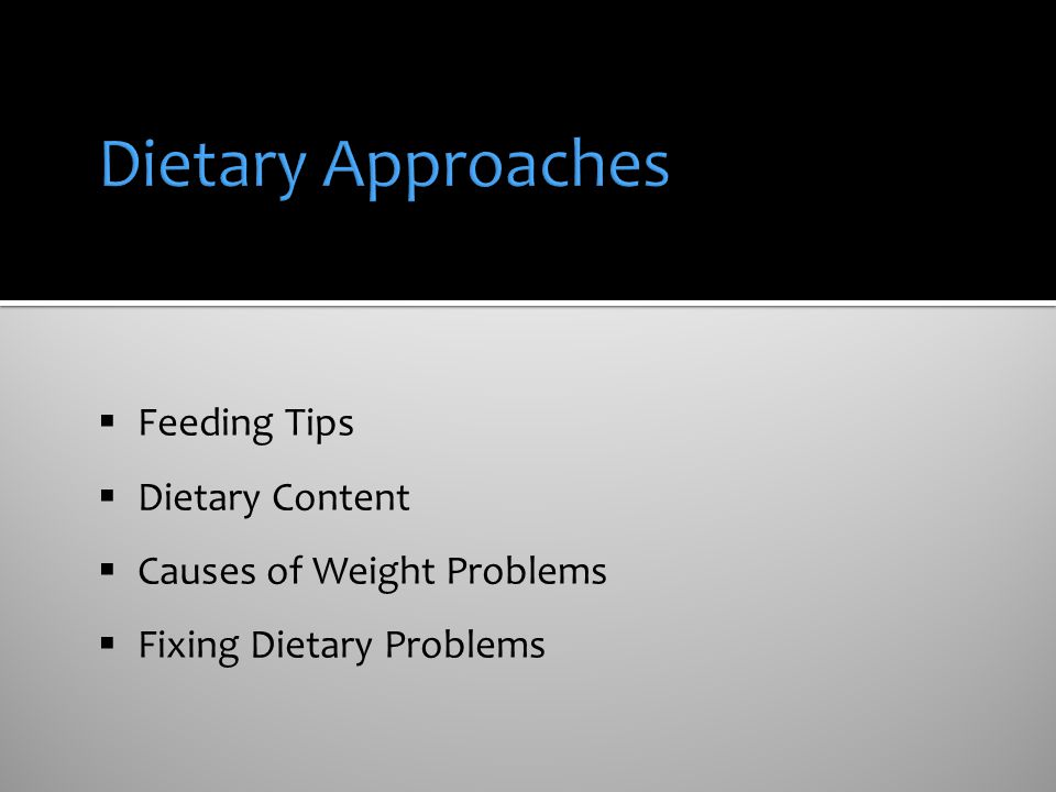 Dietary Approaches Feeding Tips Dietary Content