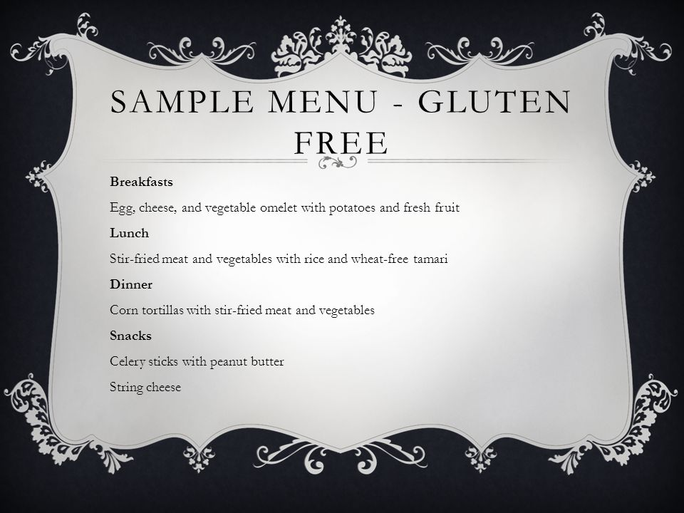 Sample Menu - Gluten Free