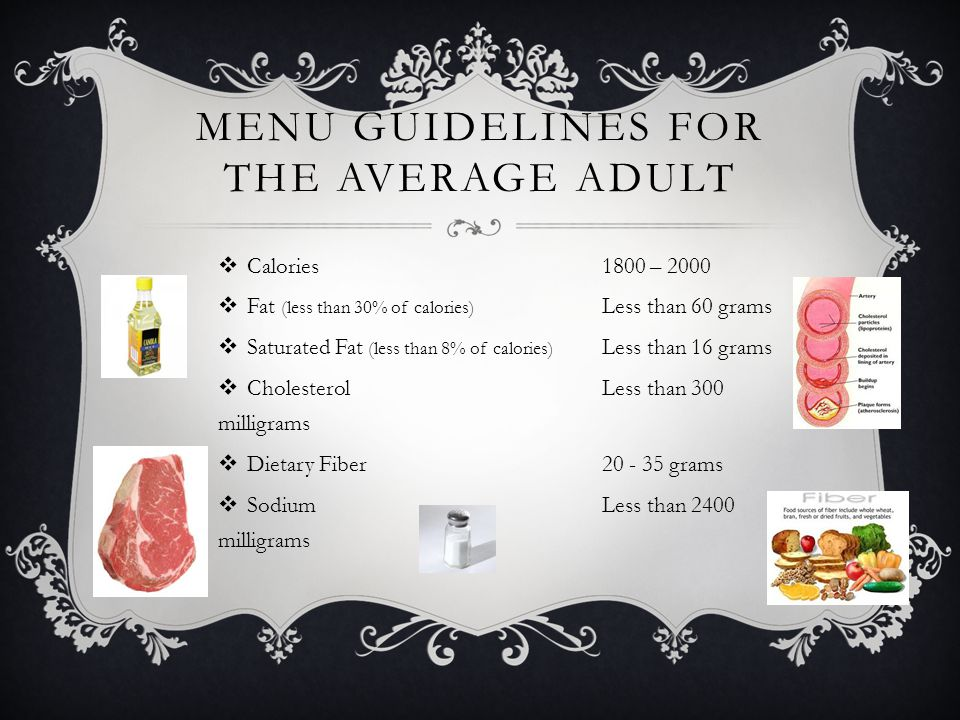 Menu Guidelines For The Average Adult