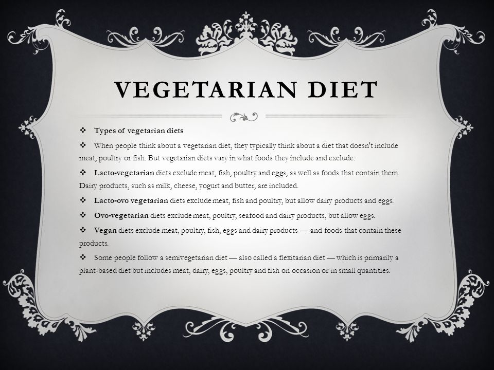 Vegetarian diet Types of vegetarian diets