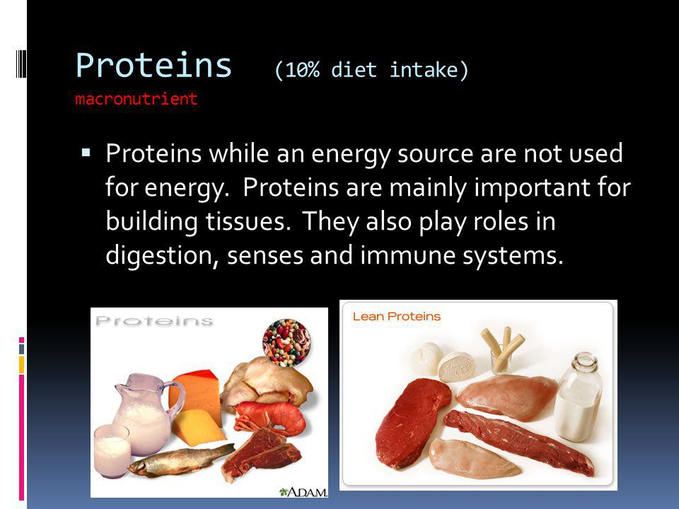 Proteins (10% diet intake) macronutrient
