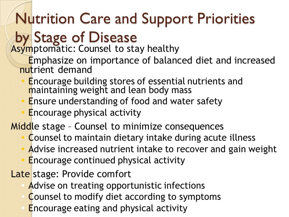 Nutrition Care and Support Priorities by Stage of Disease