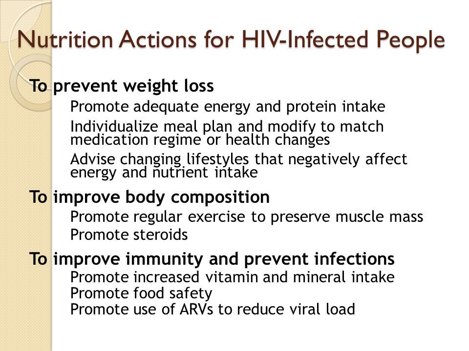 Nutrition Actions for HIV-Infected People