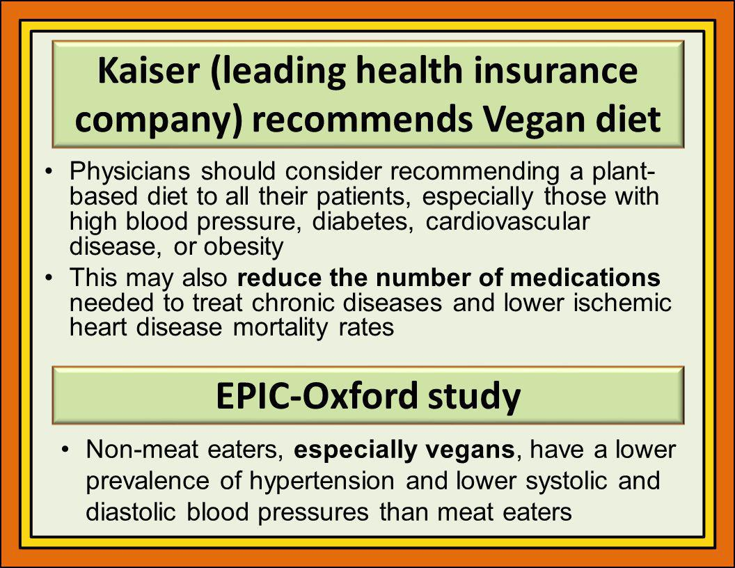 Kaiser (leading health insurance company) recommends Vegan diet