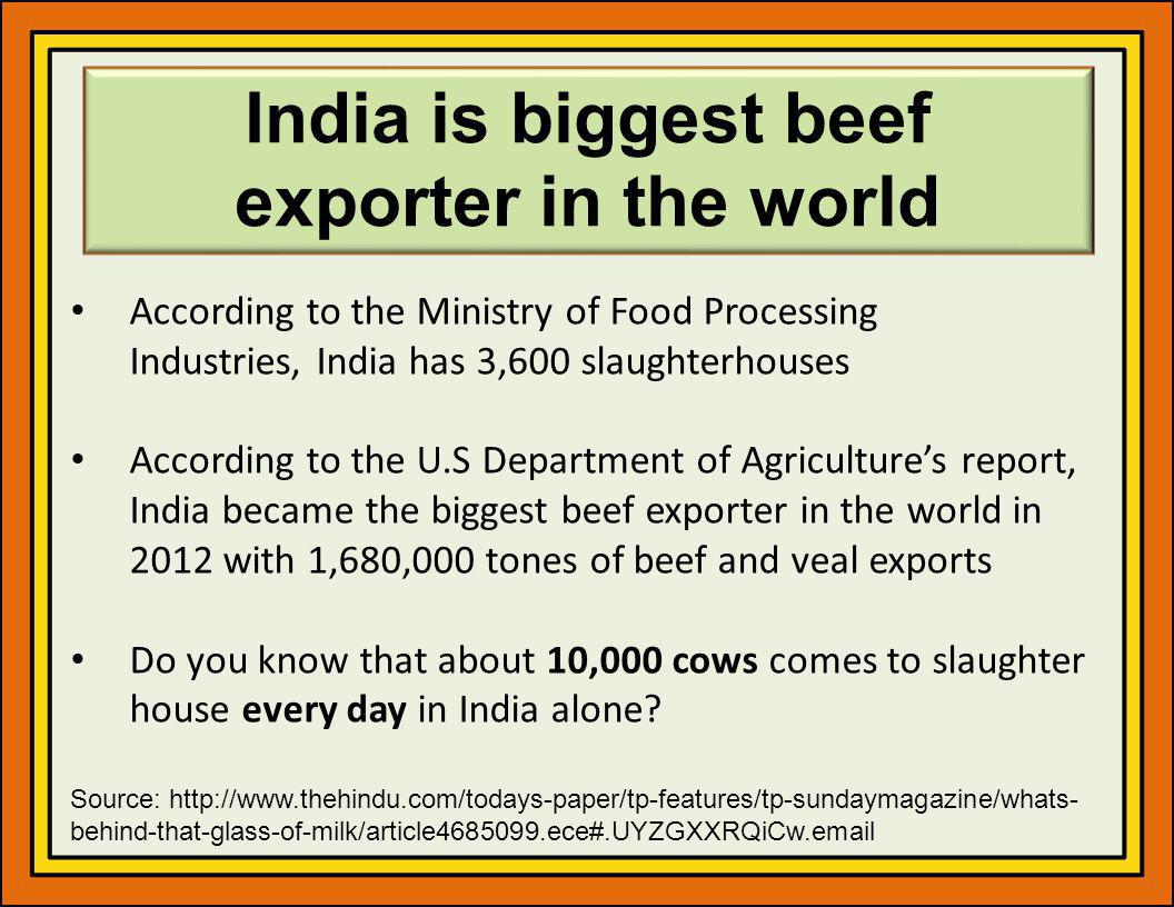 India is biggest beef exporter in the world