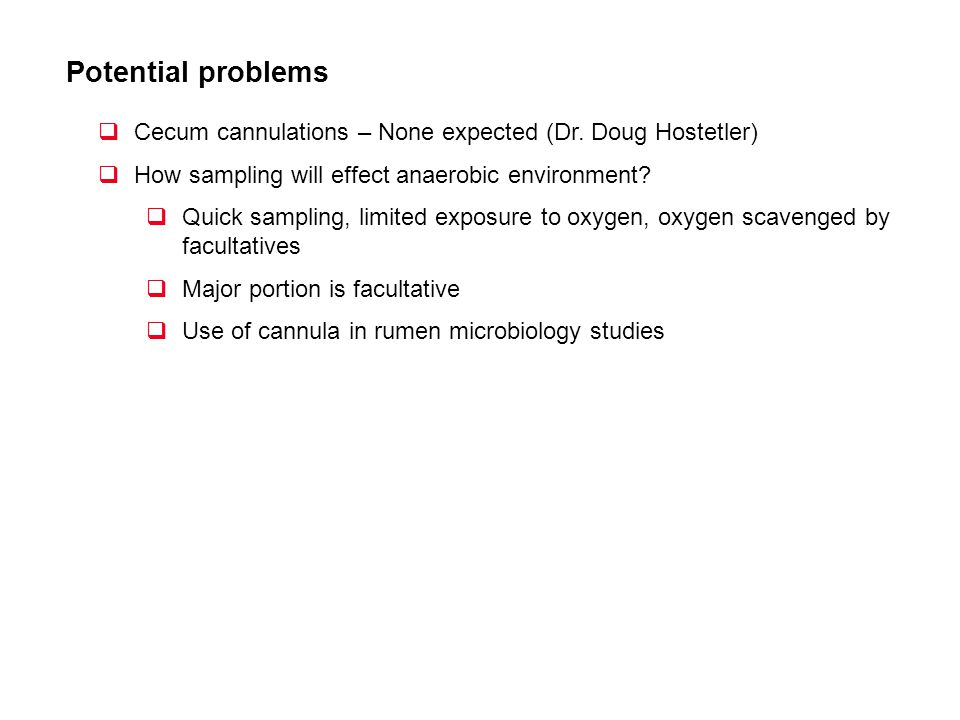 Potential problems Cecum cannulations – None expected (Dr. Doug Hostetler) How sampling will effect anaerobic environment