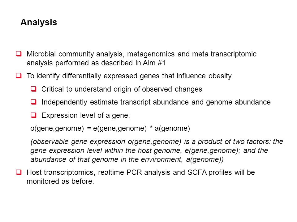 Analysis Microbial community analysis, metagenomics and meta transcriptomic analysis performed as described in Aim #1.
