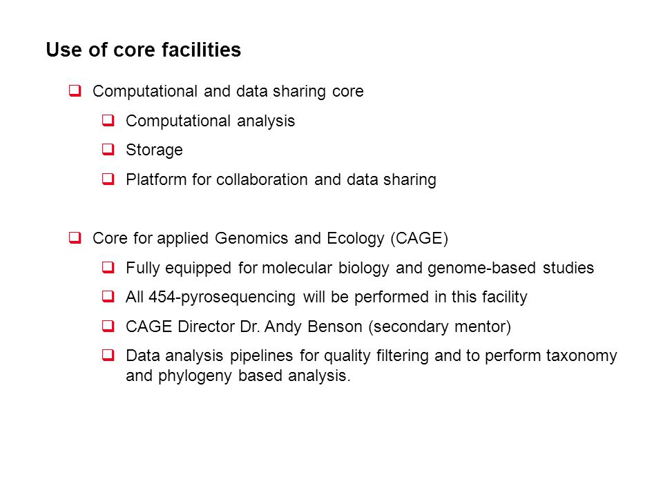 Use of core facilities Computational and data sharing core