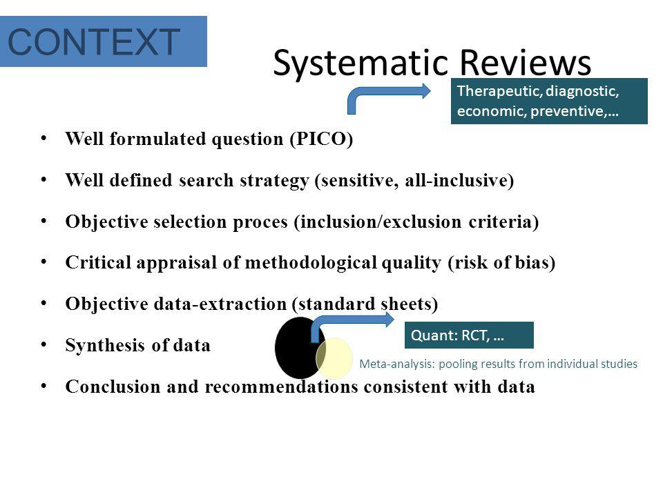 Systematic Reviews CONTEXT Well formulated question (PICO)