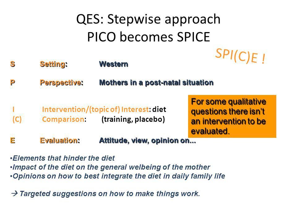 QES: Stepwise approach PICO becomes SPICE