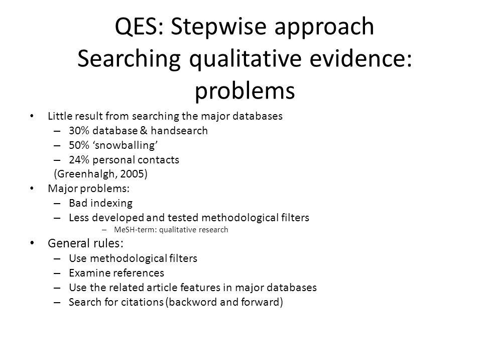 QES: Stepwise approach Searching qualitative evidence: problems