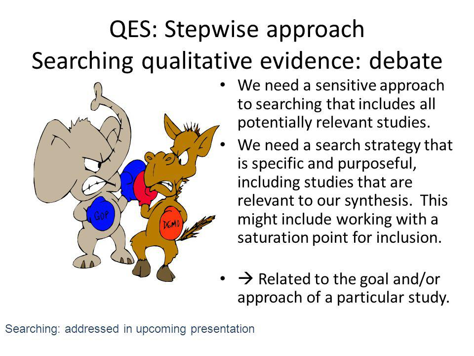 QES: Stepwise approach Searching qualitative evidence: debate
