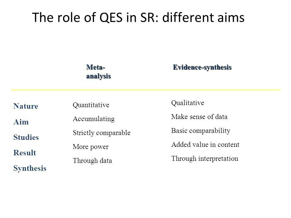 The role of QES in SR: different aims