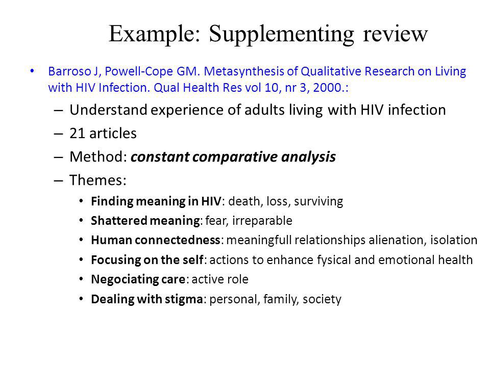 Example: Supplementing review