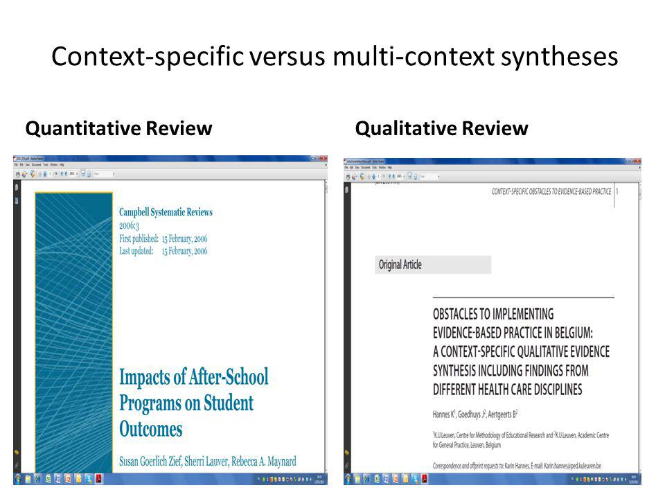 Context-specific versus multi-context syntheses