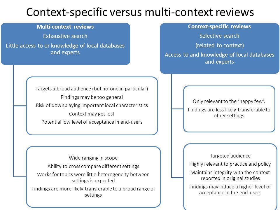 Context-specific versus multi-context reviews