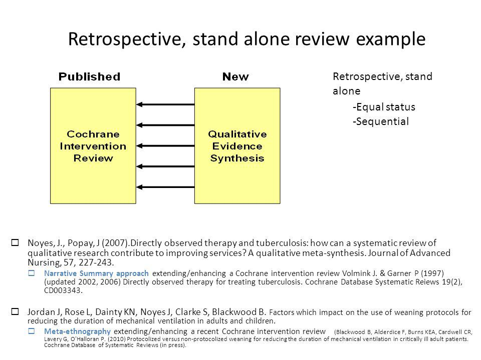 Retrospective, stand alone review example