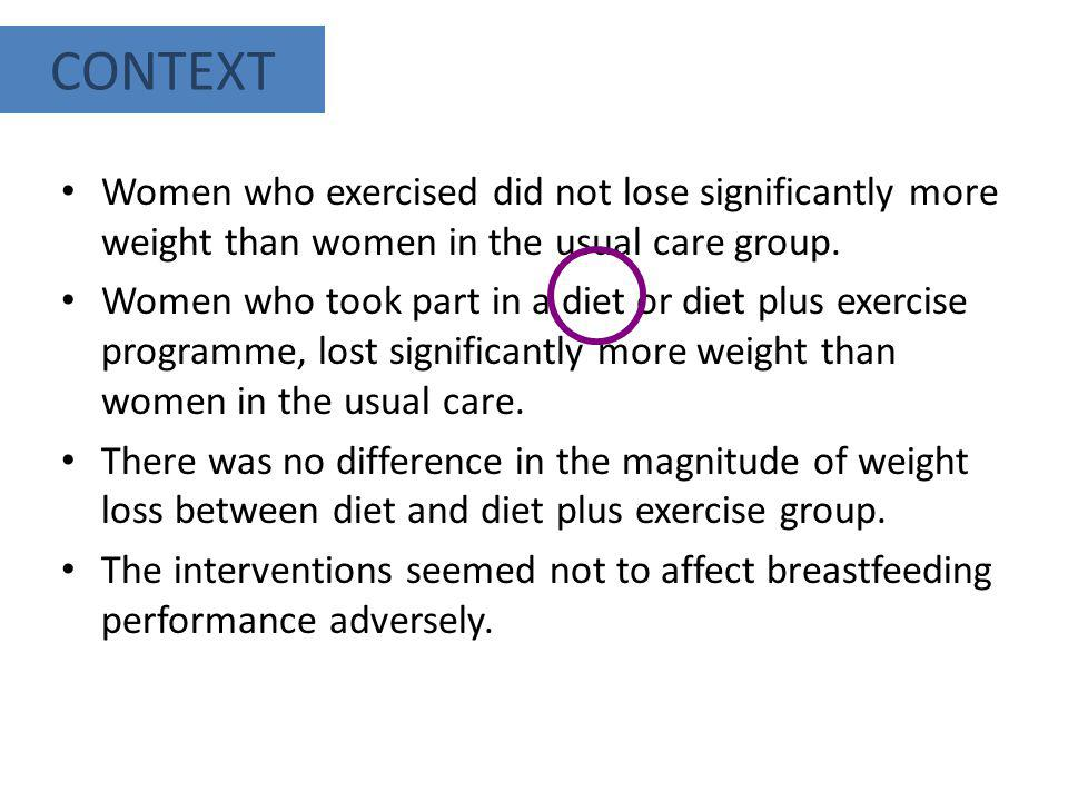 CONTEXT Women who exercised did not lose significantly more weight than women in the usual care group.