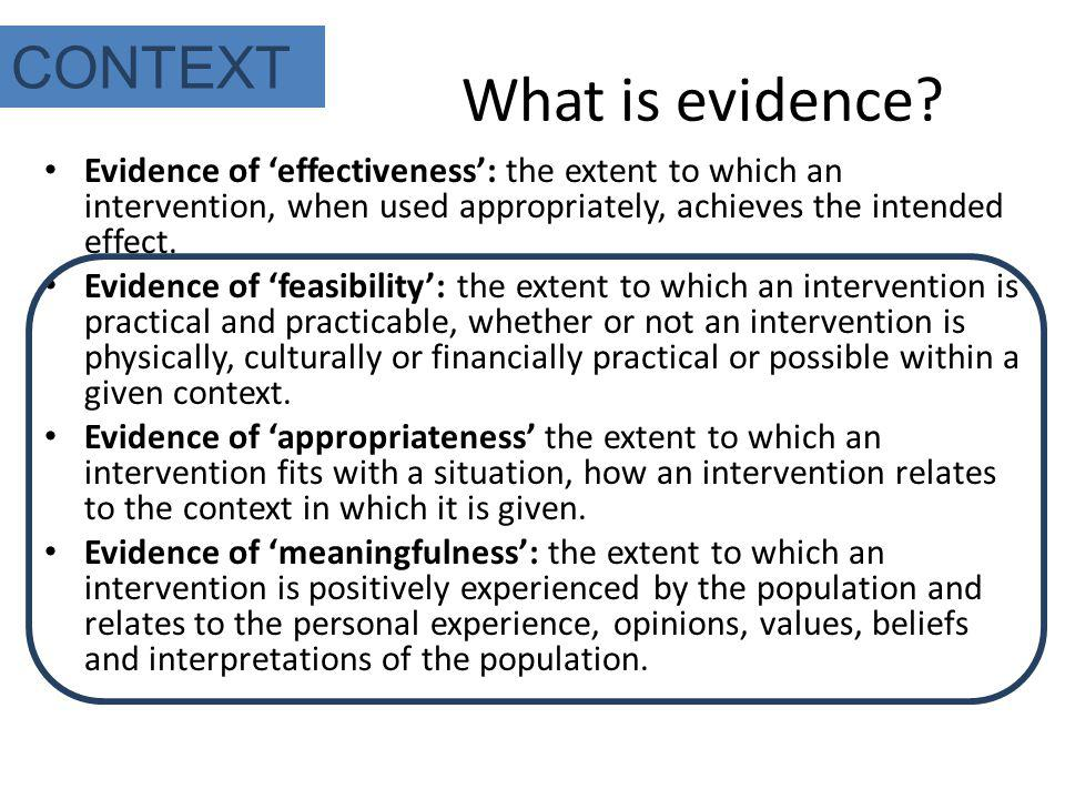 What is evidence CONTEXT