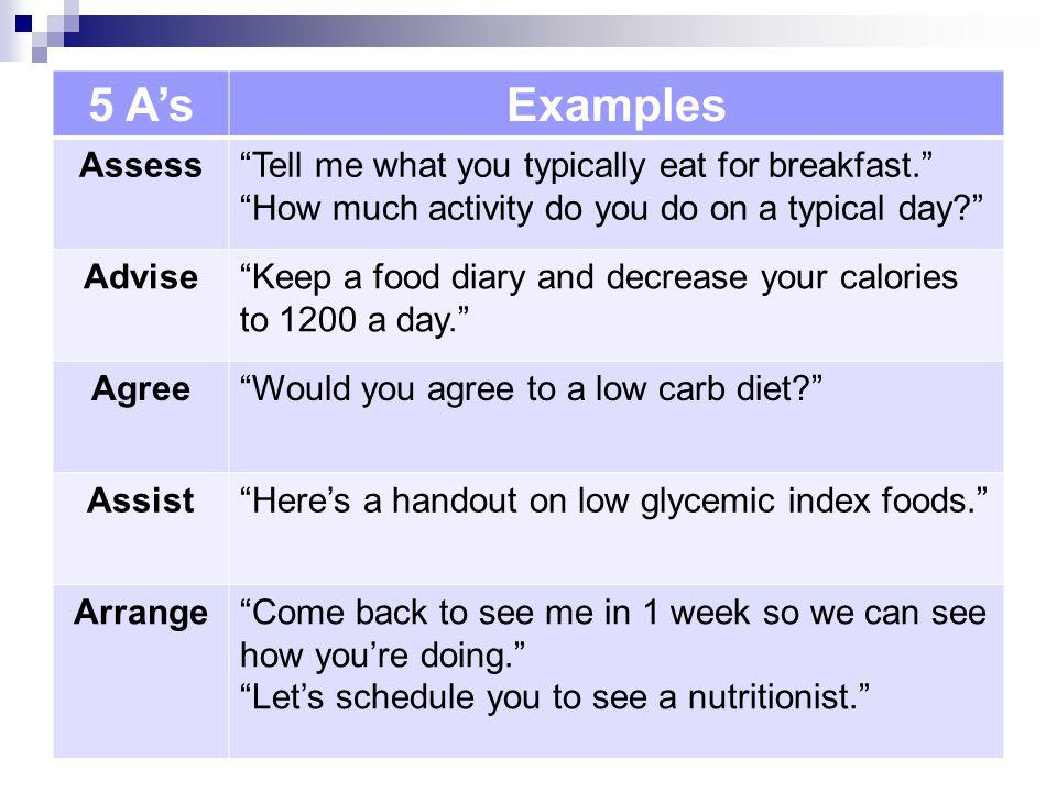 5 A's Examples Assess Tell me what you typically eat for breakfast.