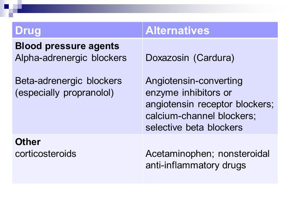 Drug Alternatives Blood pressure agents Alpha-adrenergic blockers