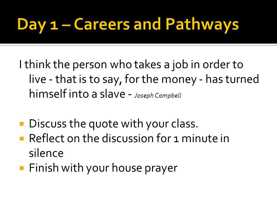 Day 1 – Careers and Pathways
