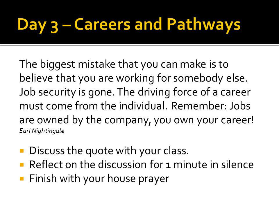 Day 3 – Careers and Pathways