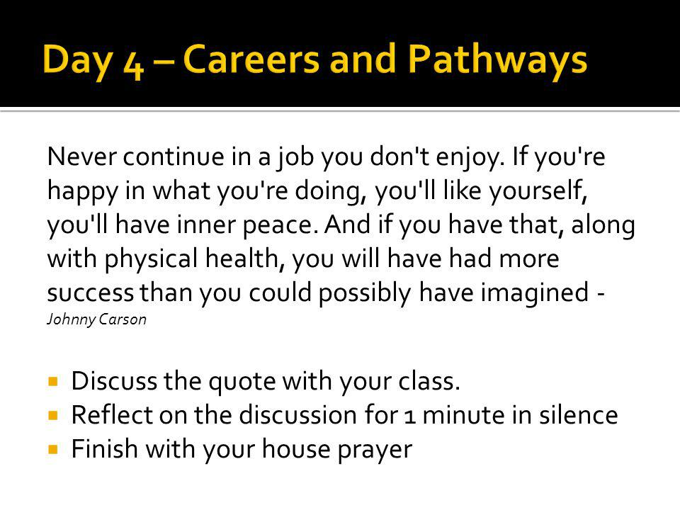 Day 4 – Careers and Pathways