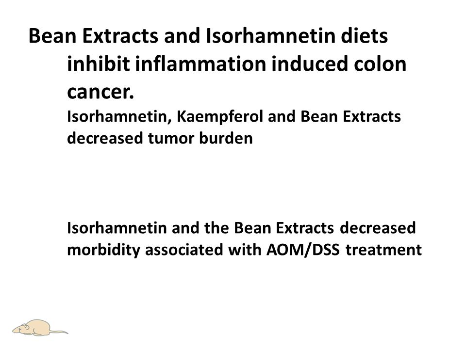 Bean Extracts and Isorhamnetin diets inhibit inflammation induced colon cancer.