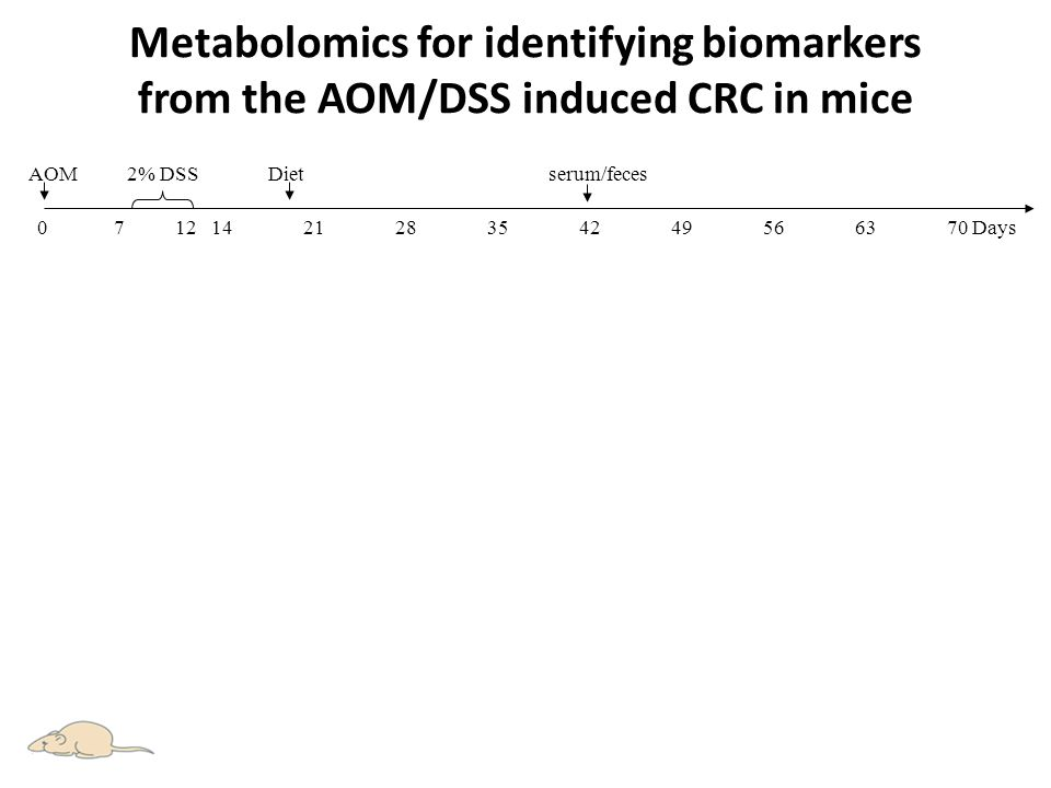 Metabolomics for identifying biomarkers from the AOM/DSS induced CRC in mice