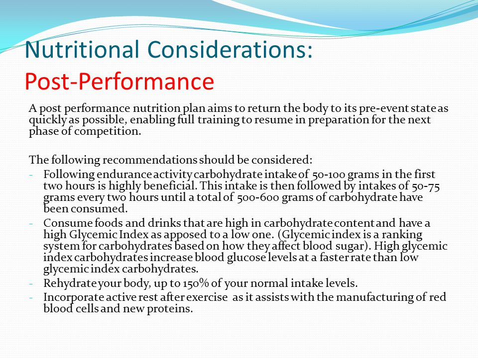 Nutritional Considerations: Post-Performance