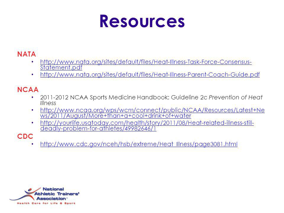 Resources NATA NCAA CDC