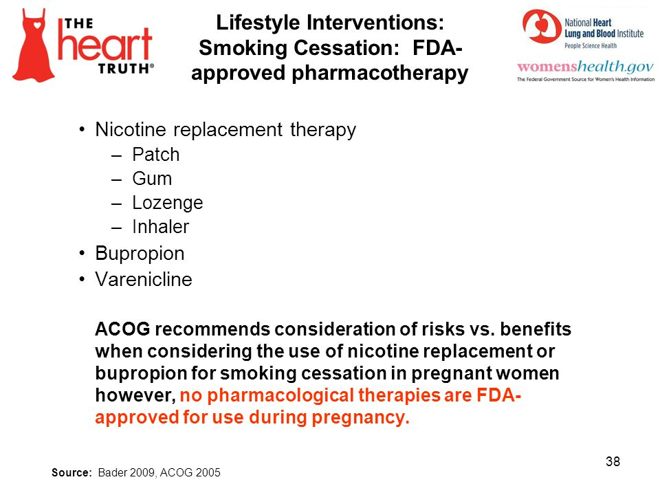 4/1/2017 Lifestyle Interventions: Smoking Cessation: FDA-approved pharmacotherapy. Nicotine replacement therapy.