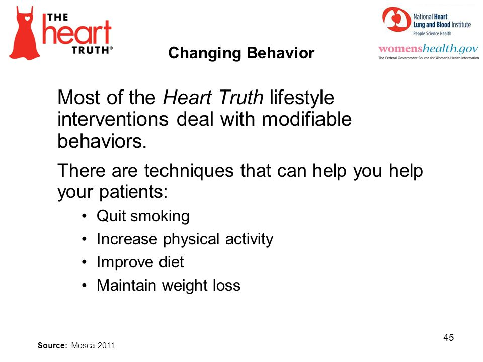 4/1/2017 Changing Behavior. Most of the Heart Truth lifestyle interventions deal with modifiable behaviors.