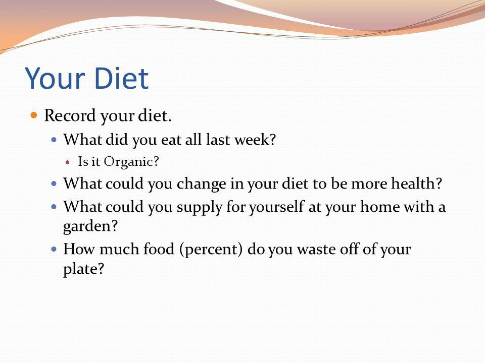 Your Diet Record your diet. What did you eat all last week