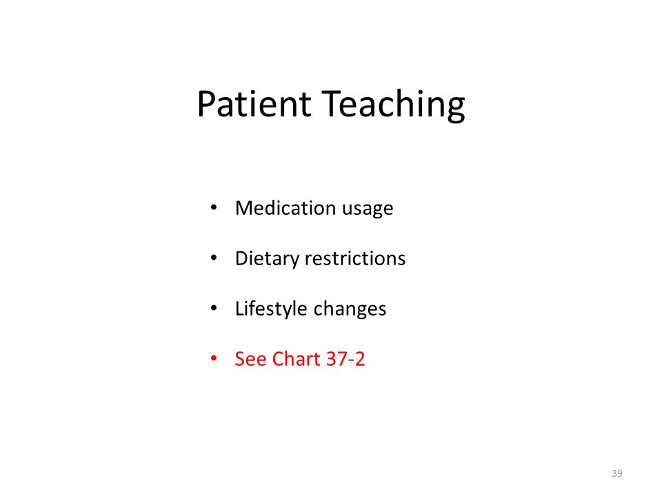 Patient Teaching Medication usage Dietary restrictions