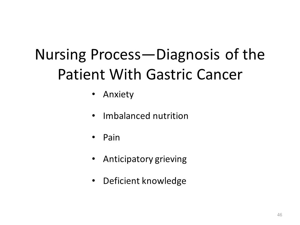 Nursing Process—Diagnosis of the Patient With Gastric Cancer