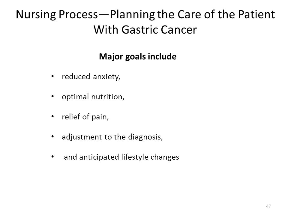 Nursing Process—Planning the Care of the Patient With Gastric Cancer