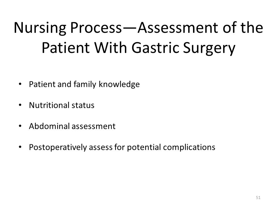 Nursing Process—Assessment of the Patient With Gastric Surgery
