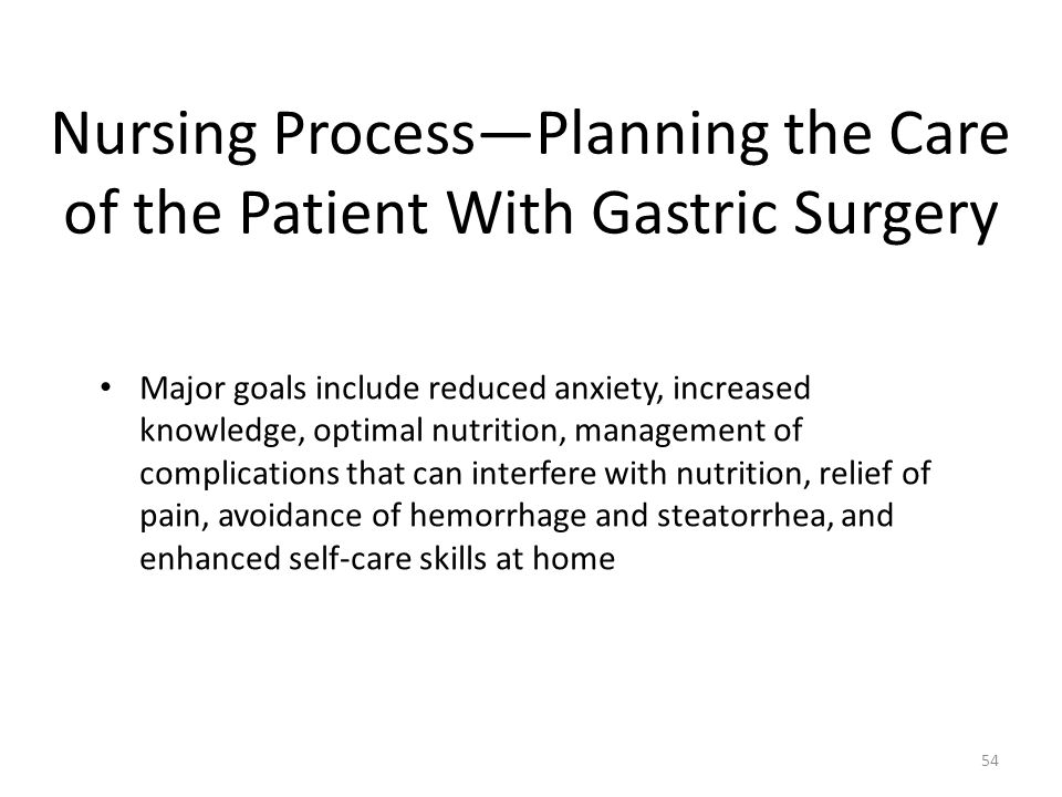 Nursing Process—Planning the Care of the Patient With Gastric Surgery