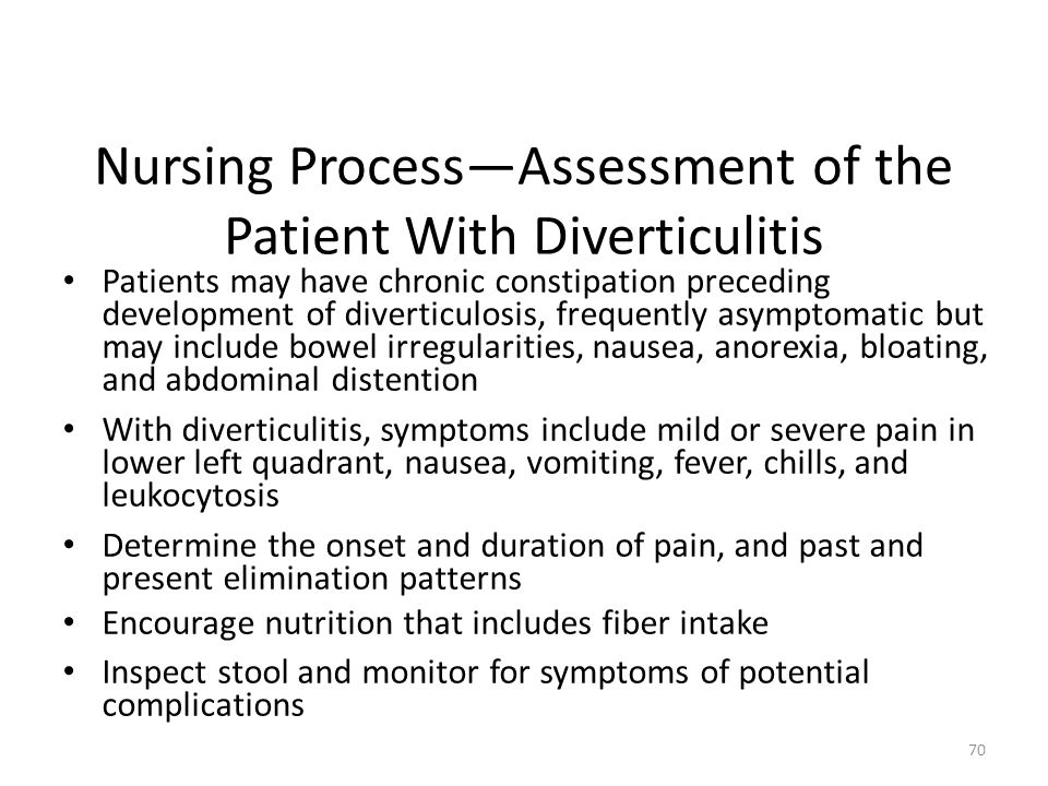 Nursing Process—Assessment of the Patient With Diverticulitis