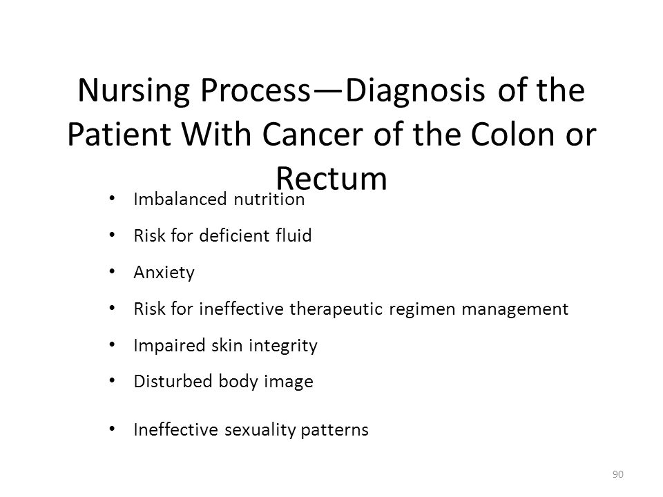 Nursing Process—Diagnosis of the Patient With Cancer of the Colon or Rectum
