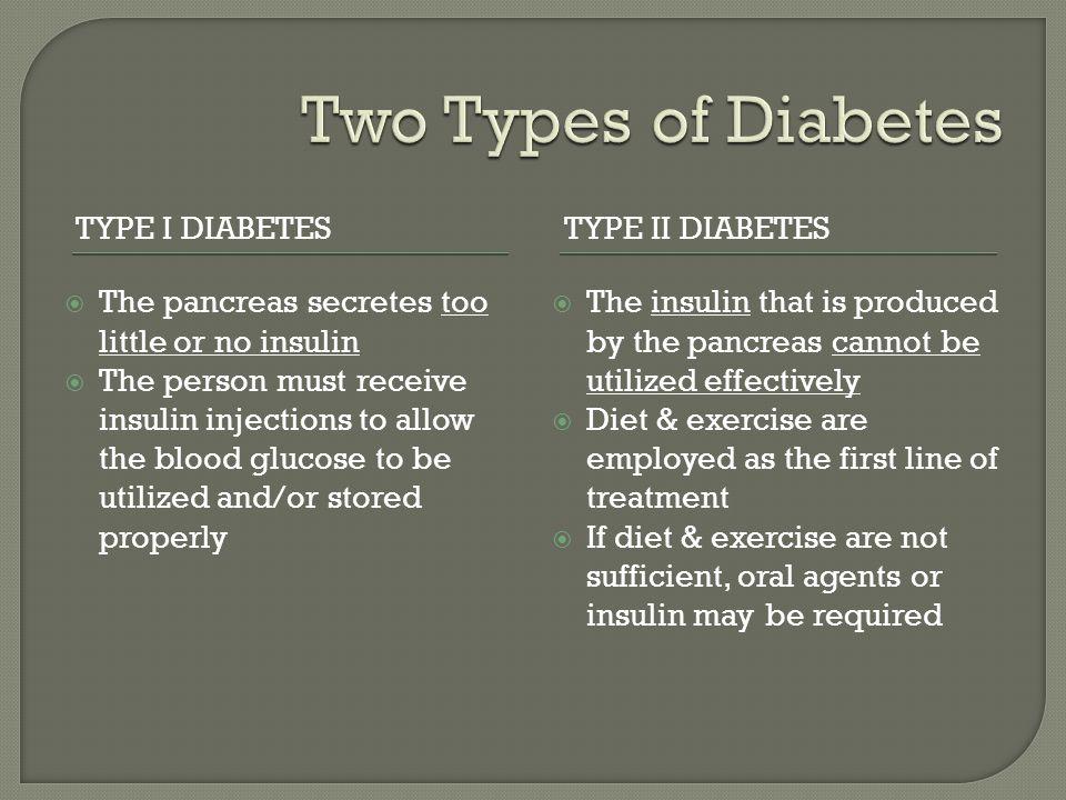 Two Types of Diabetes Type I Diabetes Type II Diabetes