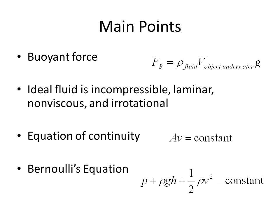 Main Points Buoyant force