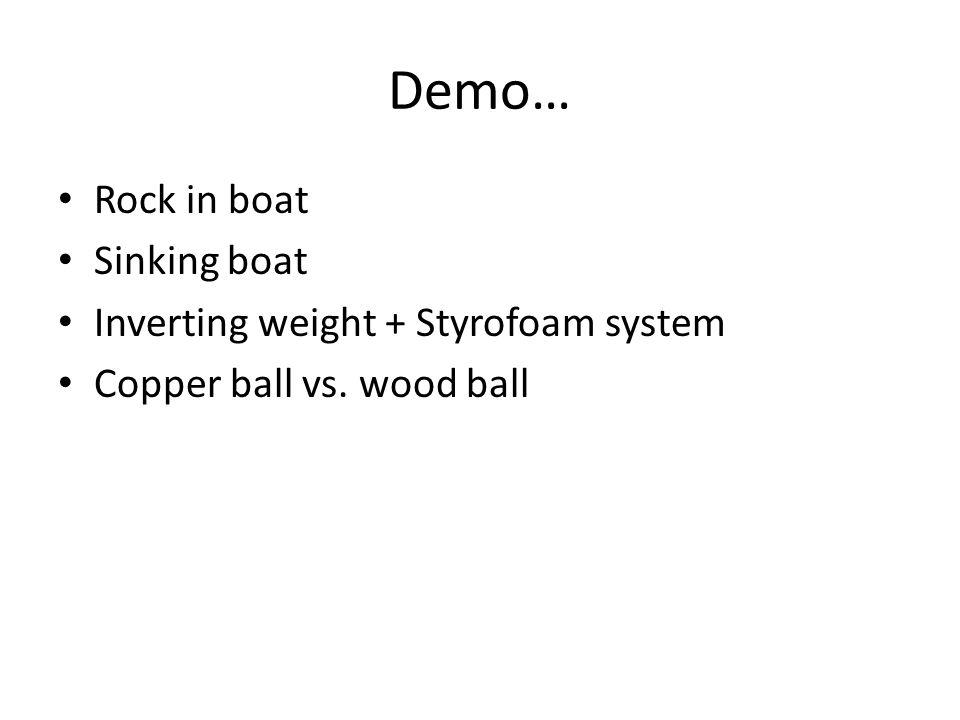 Demo… Rock in boat Sinking boat Inverting weight + Styrofoam system
