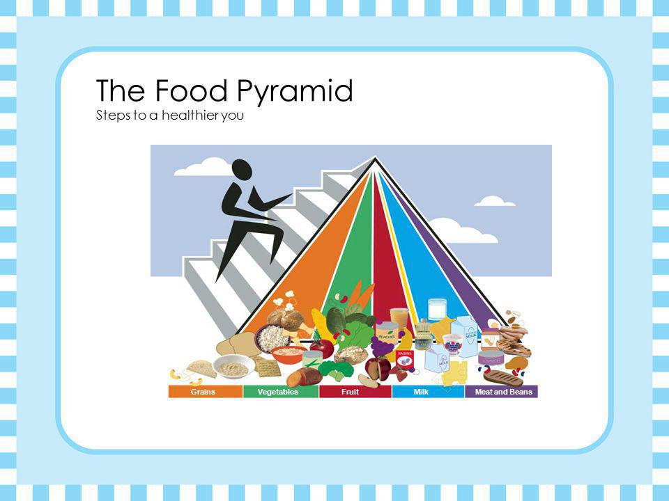 The Food Pyramid Steps to a healthier you